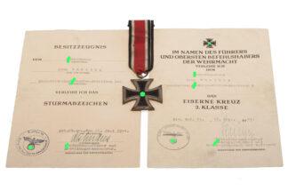 Verleihungsurkunde Eisernes Kreuz + Sturmabzeichen SS-Sturmmann