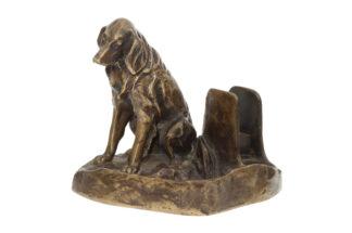 Bronzefigur Hund Friedrich Gornik (Prävali 1877-1943 Wien),