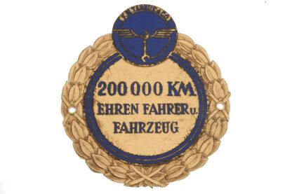Plakette TARBUK&CO 200.000 Km Ehren Fahrer u. Fahrzeug