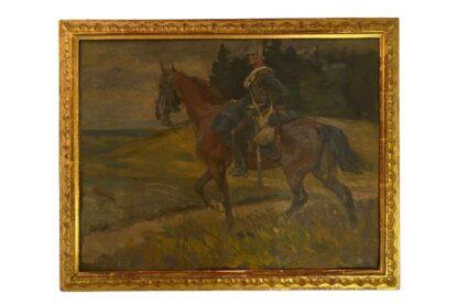 Gemälde Dragoner Offizier zu Pferd K.u.K. Armee