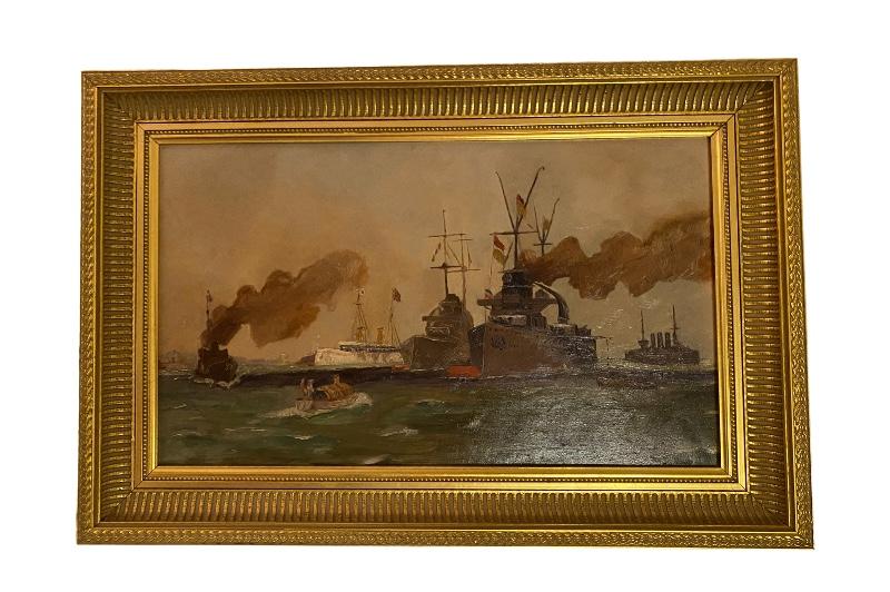Gemälde Seeschlacht mit deutschen Kriegsschiffen WW1 Vogl Walter 1915