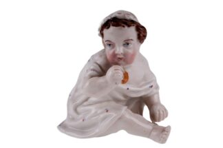 Porzellanfigur Porzellanpuppe Kind sitzend