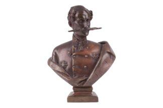 Bronzefigur Büste Felix Fürst Jablonowski signiert Högler 1852