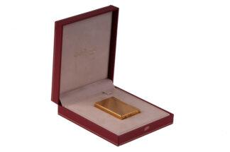 S.t.Dupont Feuerzeug gold mit Rillen in Originalbox