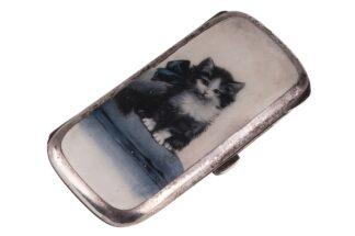 Zigarettendose Tabatiere mit Katzenmotiv ca 1920-1930