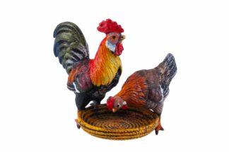Bronzefigur Hahn und Henne