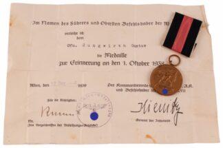 WW2 Medaille zur Erinnerung an den 1 Oktober 1938 Orden+Urkunde