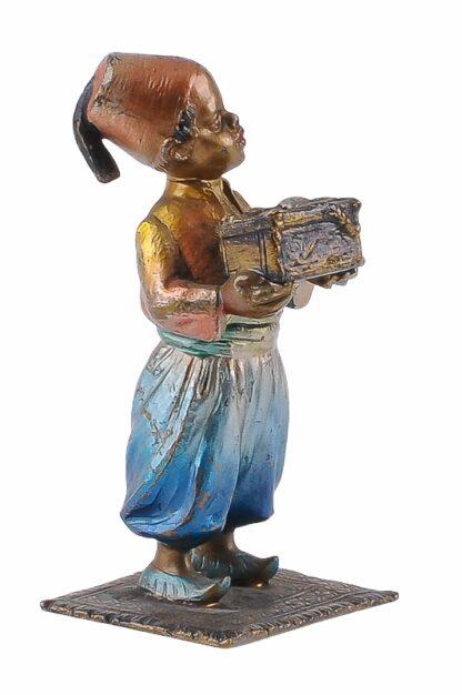 Bronze Figur Bergmann Junge orientale mit Schmuckkiste3