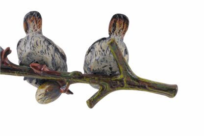 Bronze Figur Bergmann Spatzen auf einem Zweig1