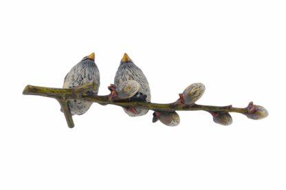 Bronze Figur Bergmann Spatzen auf einem Zweig2