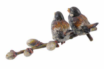 Bronze Figur Bergmann Spatzen auf einem Zweig3