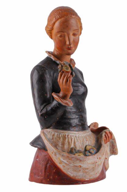 Keramik Figur Frau mit Blumen von Ida Schwetz Lehmann Wien 19383