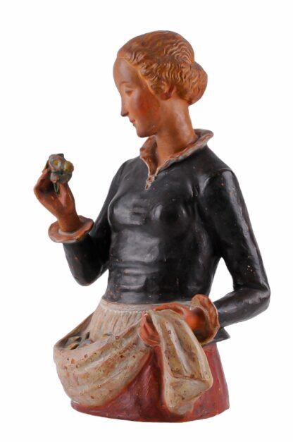 Keramik Figur Frau mit Blumen von Ida Schwetz Lehmann Wien 19384