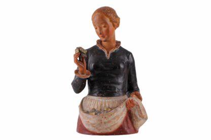 Keramik Figur Frau mit Blumen von Ida Schwetz Lehmann Wien 19385