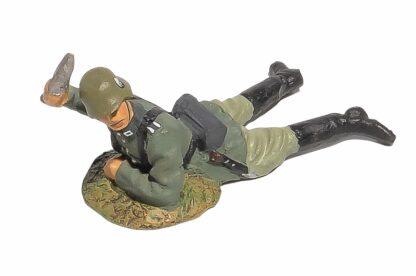 Lineol:Duscha Soldat liegend mit Granate1
