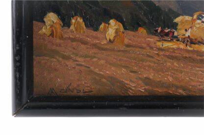 Miniatur Ölgemälde Getreideernte signiert Meindl 19282
