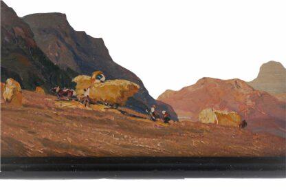 Miniatur Ölgemälde Getreideernte signiert Meindl 19283