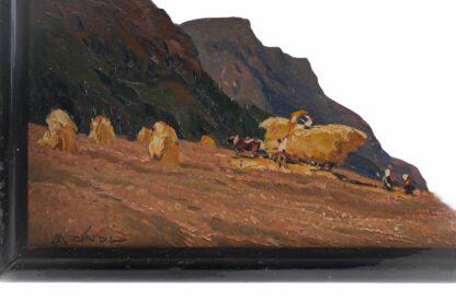 Miniatur Ölgemälde Getreideernte signiert Meindl 19284