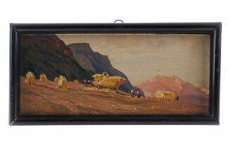 Miniatur Ölgemälde Getreideernte signiert Meindl 19285
