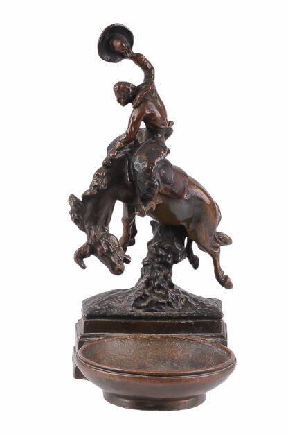 Visitkartenschale Bronzefigur mit Cowboy zu Pferd Rodeo Reiter2