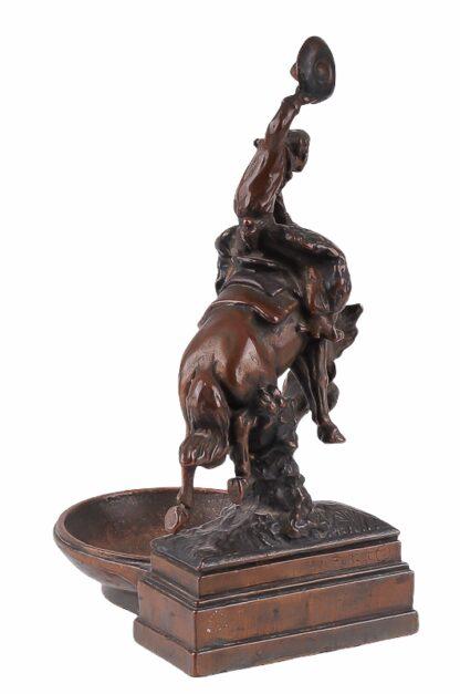 Visitkartenschale Bronzefigur mit Cowboy zu Pferd Rodeo Reiter5