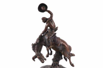 Visitkartenschale Bronzefigur mit Cowboy zu Pferd Rodeo Reiter6