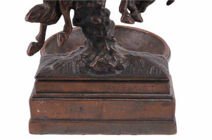 Visitkartenschale Bronzefigur mit Cowboy zu Pferd Rodeo Reiter7